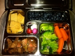 Monday: leftover steak, garlic and herb almond flour crackers, blueberries, broccoli and carrots, and a few M&Ms
