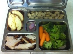 rotisserie chicken, carrots/broccoli, apples with cinnamon, pistachios