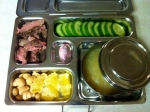 leftover steak, cucumbers, applesauce, nuts and dried pineapple