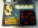leftover chicken, pumpkin seeds with cinnamon, celery with nut butter, fresh berries