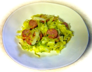 "Cabbage ""noodles"" and kielbasa hold the noodles"