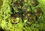 Green pesto with spaghetti squash and spinach meatballs