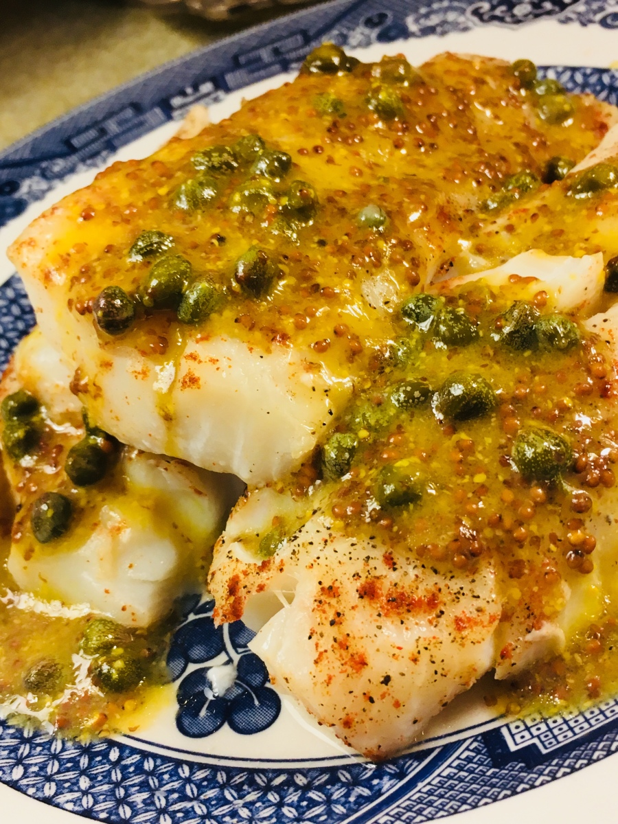 Pan Fried Cod with Mustard Caper Sauce