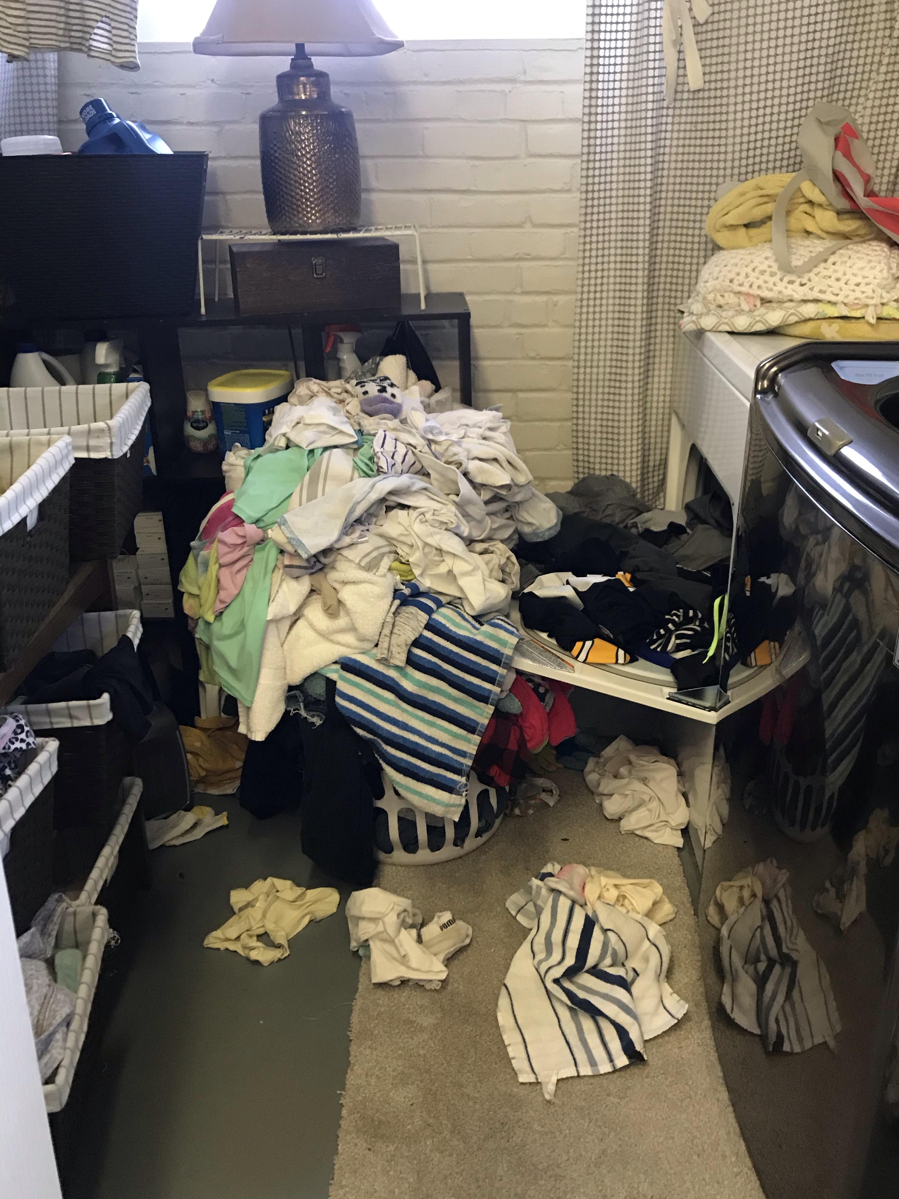 family of seven laundry pile